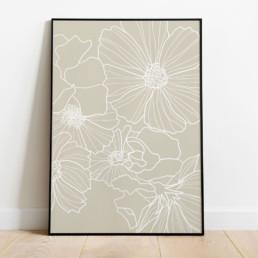 affiche-florale-fleur-coquelicot-minimaliste-graphique-couleur