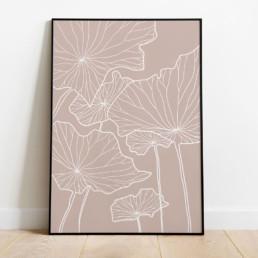 affiche-florale-fleur-minimaliste-graphique-couleur