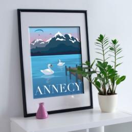 lac-annecy-illustration-vente-affiche-poster-souvenirs-ete-hivers-montagne