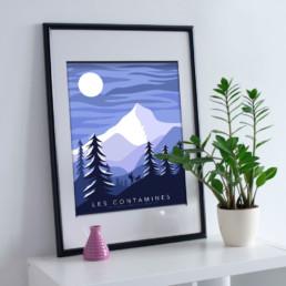 les contamines ventes souvenirs ete hiver affiche mug montagne ski