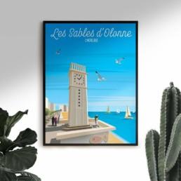 affiche les sables d olonne vente poster illustration graphiste vendee