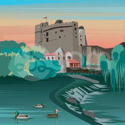 illustration-clisson-chateau-affiche-poster-souvenir-loire-atlantique-zoom