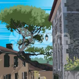 illustration-clisson-rue-collegiale-affiche-poster-souvenir-loire-atlantique-zoom