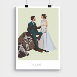 illustration-personnalisee-portrait-couple-idee-cadeau-mariage-amour-vendee-clisson