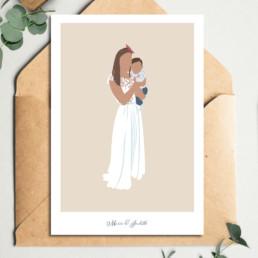 illustration-personnalisee-mere-enfant-portrait-famille-idee-cadeau