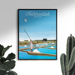 vente affiche noirmoutier ile marais salants vendee cote atlantique poster illustration
