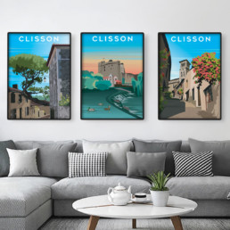Vente affiche Clisson lot de 3 Collegiale Château et Tire Jarret Souvenirs de Clisson