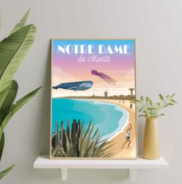 illustration-notre-dame-de-monts-plage-cote-vendeenne-affiches-vendee-tourisme-souvenirs