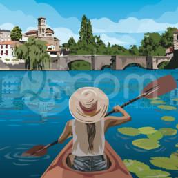 illustration-clisson-canoe-kayak-affiche-poster-souvenir-loire-atlantique-zoom