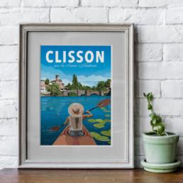 illustration clisson canoe kayak sevre nantaise souvenir loire atlantique affiche poster