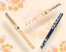 creation-motifs-fleuris-stylos-ecriture-oberthur-papeterie